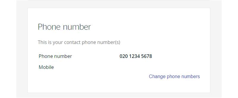 Screengrab of the phone number entry in your account