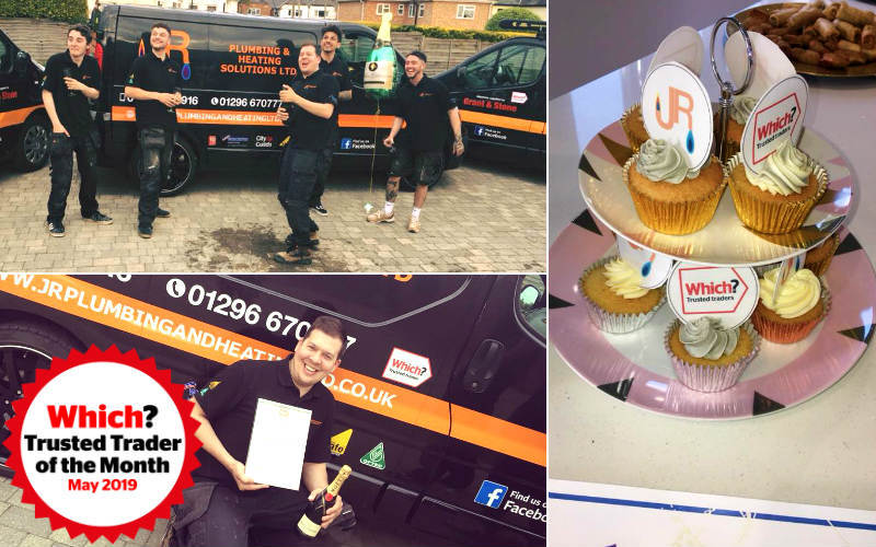 The JR Heating and Plumbing Solutions Ltd team, James Radwell and celebratory cupcakes