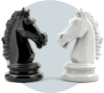 Two opposing chess pieces