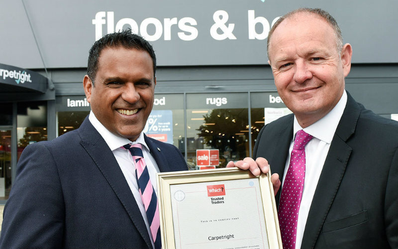 Raj Kakar-Clayton, Managing Director of Which? Trusted Traders and Chris Daniel, Retail Director at Carpetright