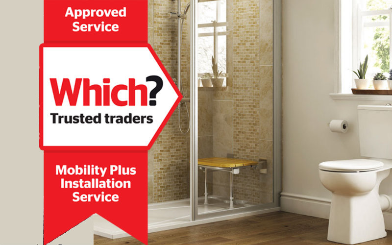 A Mobility Plus bathroom and the Which? Trusted Traders Approved Service logo
