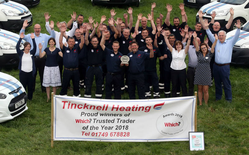 The Tincknell Heating team celebrating their 2018 Trader of the Year Award