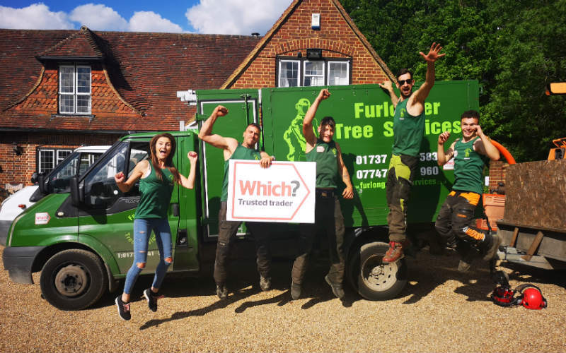 The Furlonger Tree Services team jumping for joy
