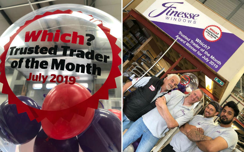 The Trader of the Month logo on a balloon and members of the Finesse Windows team