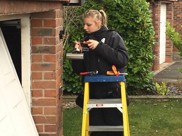 Electrician Rachel Gilbert at work
