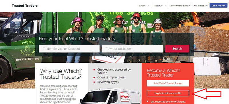 The Trusted Traders homepage with an arrow showing the login button