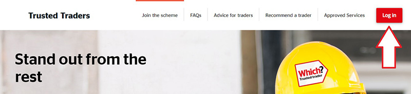 The trader sign page on the Trusted Traders site, with an arrow showing the login button