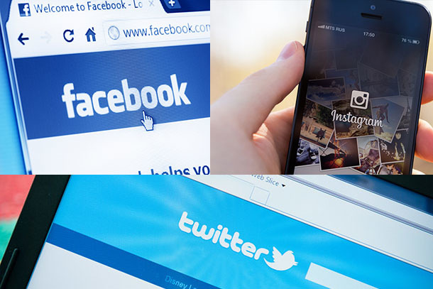 Facebook, Twitter and Instagram shown on computer and phone screens
