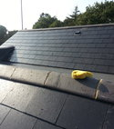 Square thumb slate roof on top