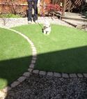 Square thumb artificial grass circles  luxe  with natural stone edging  hawley  surrey
