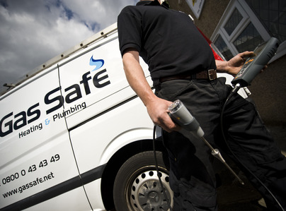 Primary thumb man next to van gas safe