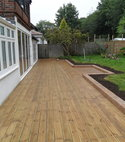 Square thumb decked patio