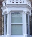 Square thumb sliding sash bay