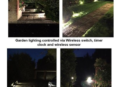 Primary thumb garden lighting controlled via wireless switch  timer