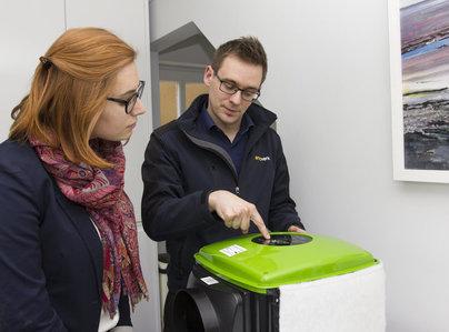 Primary thumb ventilation surveyor explaining condensation control unit.