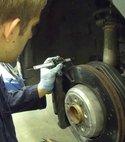 Square thumb brake disc check