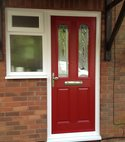 Square thumb composite door front red