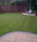 Square thumb lawn after cutting