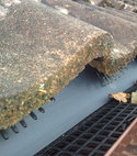 Square thumb gutterguard fitted to brown ogee guttering