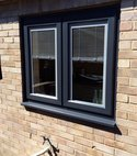 Square thumb french window anthracite grey. integral blinds