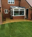 Square thumb conservatory patio turfing landscaping