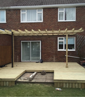 Square thumb new decked patio with gazebo