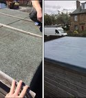 Square thumb garage flat roof recovery