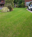 Square thumb lawn after aeration