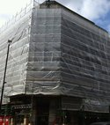 Square thumb cornhill plastic sheeted scaffold