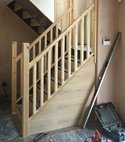 Square thumb stair case joinery
