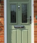 Square thumb composite door in olive