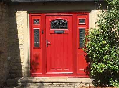 Primary thumb red composite door and side screens