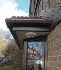 Square thumb brown square guttering rosewood fascia white soffit  replica wood oak tudor beams replacement