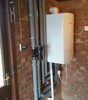Square thumb conventional heating system converted to worcester combi boiler with location moved to garage