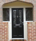 Square thumb composite door with sidelights