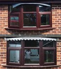 Square thumb lead bay windows with scalloped edge