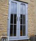 Square thumb l l french door light grey upvc georgian bar