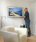 Square thumb tv on wall