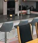 Square thumb new central bar area with sink quartz sharp nosed surface with colour changing lights