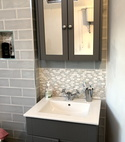 Square thumb traditional vanity unit and basin in bathroom installed by a1 gas ltd