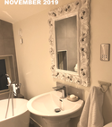 Square thumb pedestal basin and decorative mirror in modern bathroom by a1 gas ltd of hornchurch