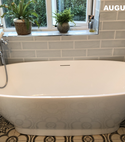 Square thumb free standing bath in traditional bathroom by a1 gas ltd   copy