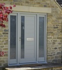 Square thumb contemporary door with glazed sandblasted finish oxfordshire