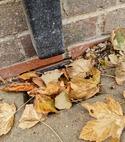 Square thumb blocked drain leaves