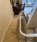 Square thumb curved stairlift install