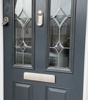 Square thumb close up composite door blue upvc white gu slam lock handleless eschutcheon crystal glazing