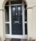 Square thumb composite door blue top light side panels upvc white gu slam lock handleless eschutcheon