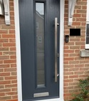Square thumb composite door grey cottage long stippolyte glass gu slam lock long bar flat handle