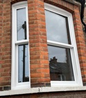 Square thumb white upvc vertical slider sash window bay window