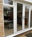 Square thumb white french door external view full glass side panels with openers
